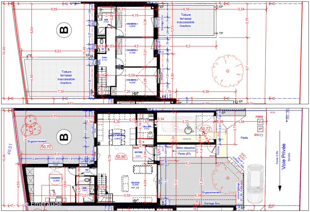 Maison Dinard 5 pièce(s) 143 m² Maison d'architecture contemporaine Suite parentale au rez-de-chaussée