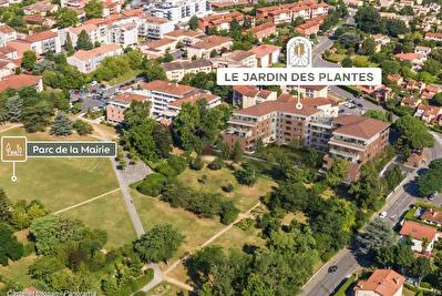 Nouveaute Nestenn Immobilier. Appartement neuf T3 en dernier etage de 63m2 avec 10m2 de terrasse avec vue sur le parc de la Mairie a vendre a Castanet-Tolosan
