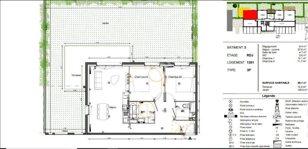 Appartement Villenave D'Ornon 3 pièces 65.1 m² jardin 106m²