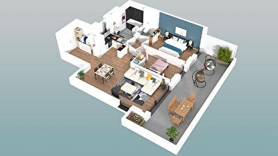 Appartement Pessac Centre 3 pieces 62m2 avec Terrasse de 27 m2