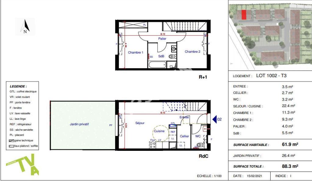 Maison Parempuyre 3 pièces 61.50 m2 avec jardin