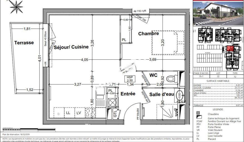 Appartement Vayres 2 pièce(s) 44m2  dernier étage avec balcon