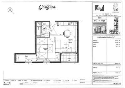 Appartement Pontoise 2 pieces 46.03 m2