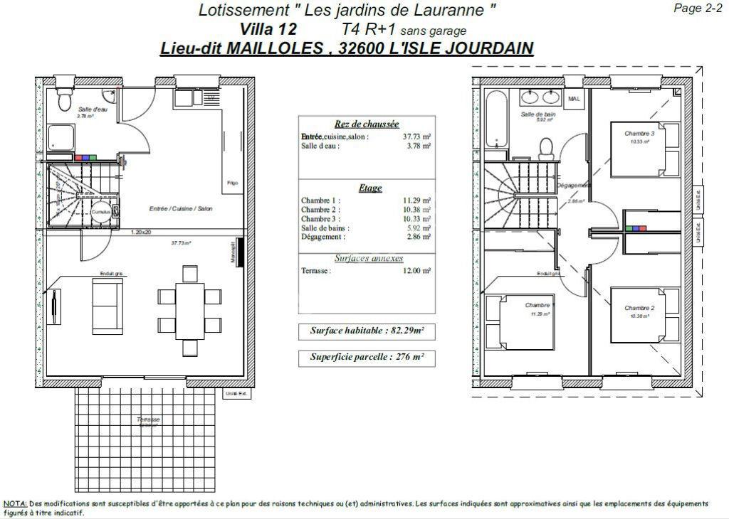 Maison T4 NEUVE avec JARDIN dans quartier CALME et RÉSIDENTIEL L'ISLE JOURDAIN livrable début 2021.
