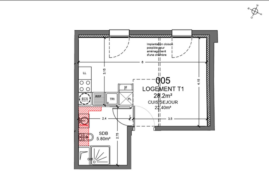 F1 bis représentant 28.20 m² au 1er étage avec parking