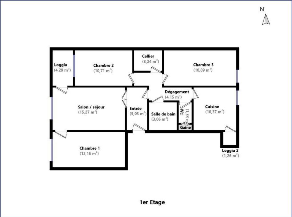 Appartement T4, Valence Est, 1er étage, Bon état, Balcon