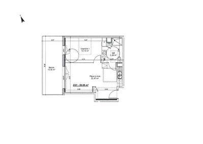 Proche centre ville Mondeville F2 neuf de 39.95 m2