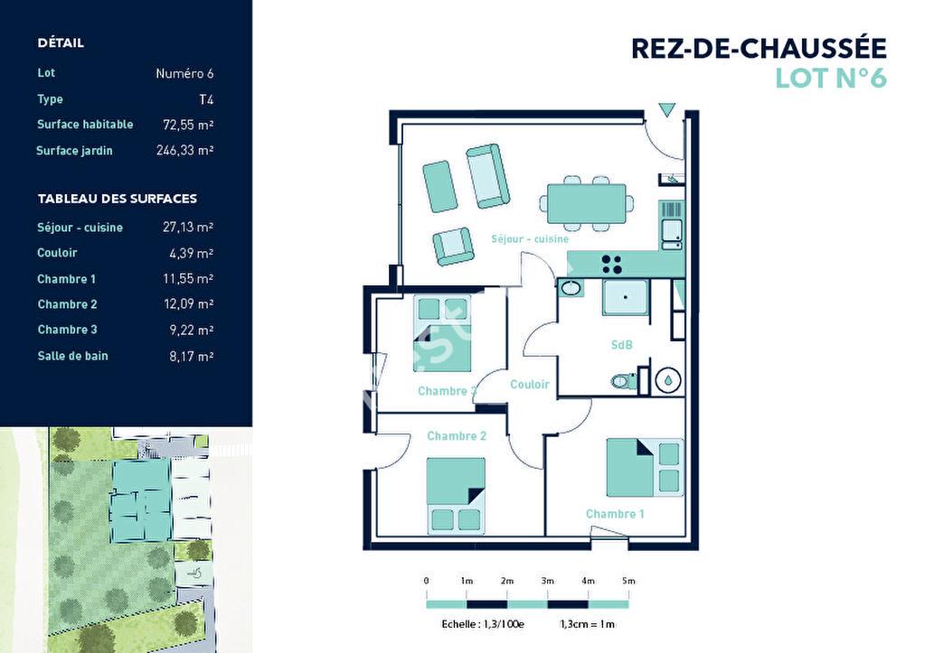 Istres appartement récent 72.55 m² rez de jardin