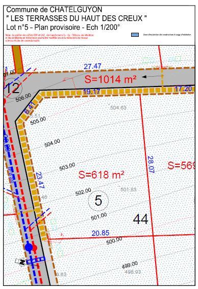 Chatel Guyon Terrain viabilisé avec vue dégagée 537 m2