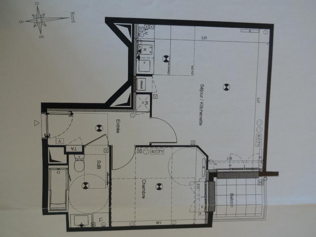Appartement Chatillon 2 pièce(s) 45.50 m2