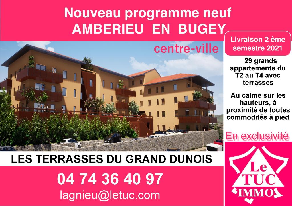 AMBERIEU EN BUGEY CENTRE - Appt T2 de 54 m2 avec terrasse, garage et parking.