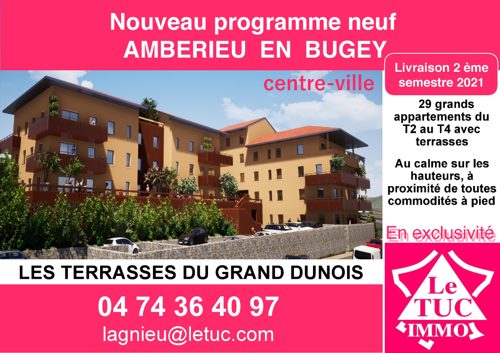 AMBERIEU EN BUGEY CENTRE - Appt T2 de 58 m2 avec terrasse et parking