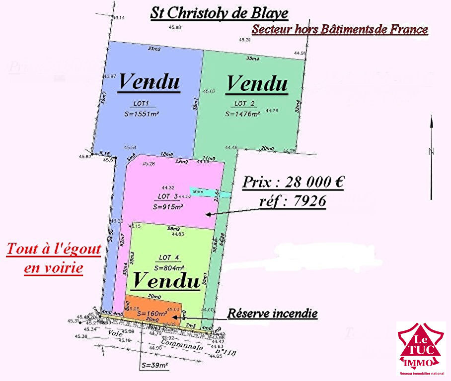 ST CHRISTOLY DE BLAYE TERRAIN 915 M²