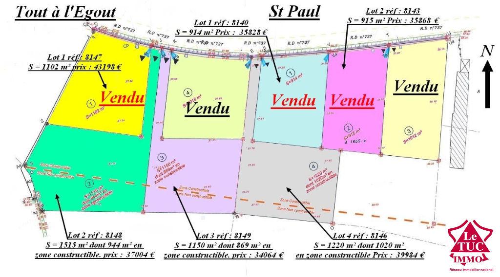 ST PAUL TERRAIN A BATIR D'ENVIRON 1 150 M²