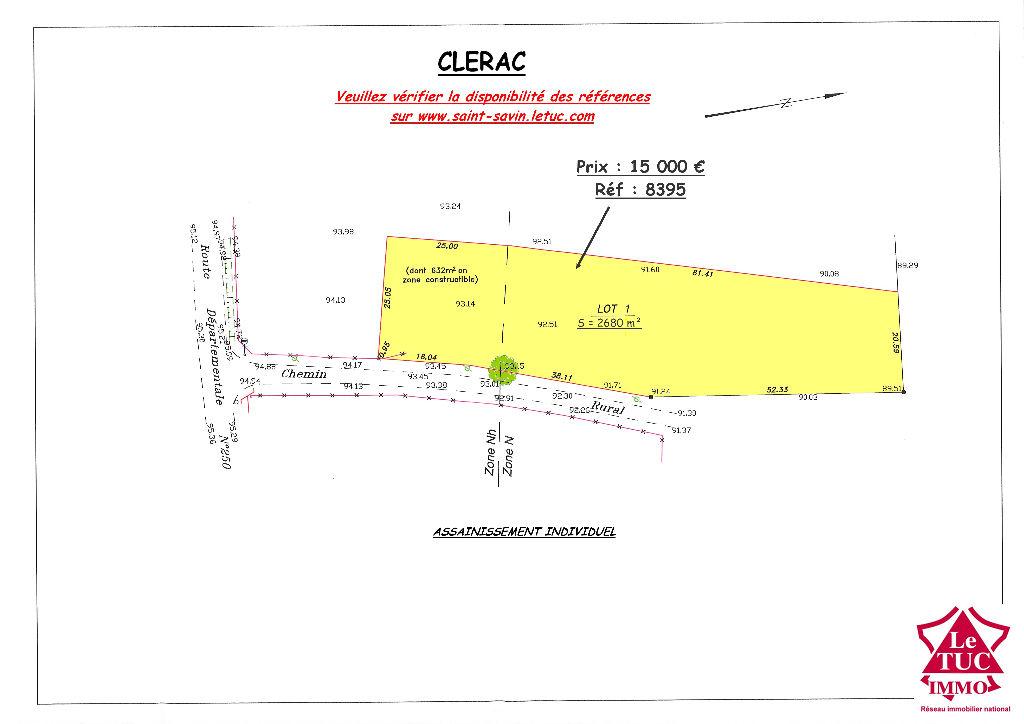 CLERAC TERRAIN CONSTRUCTIBLE 2680 m² avec BOIS