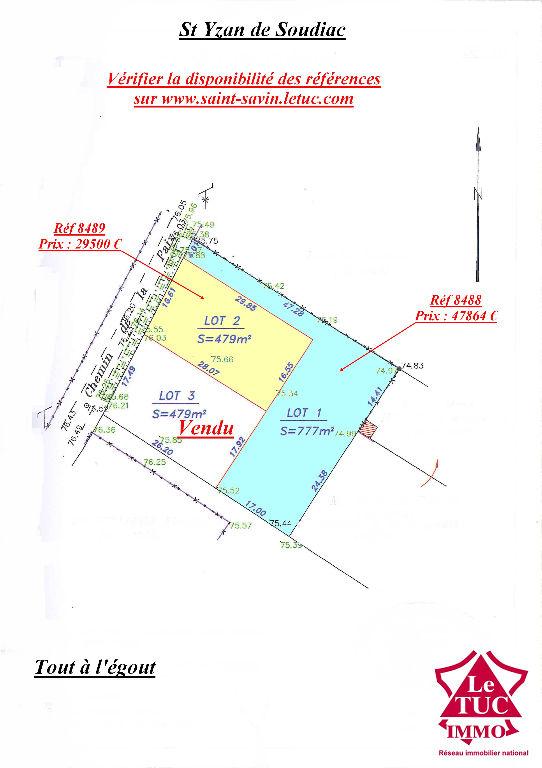 ST YZAN DE SOUDIAC TERRAIN ENVIRON 479 M²