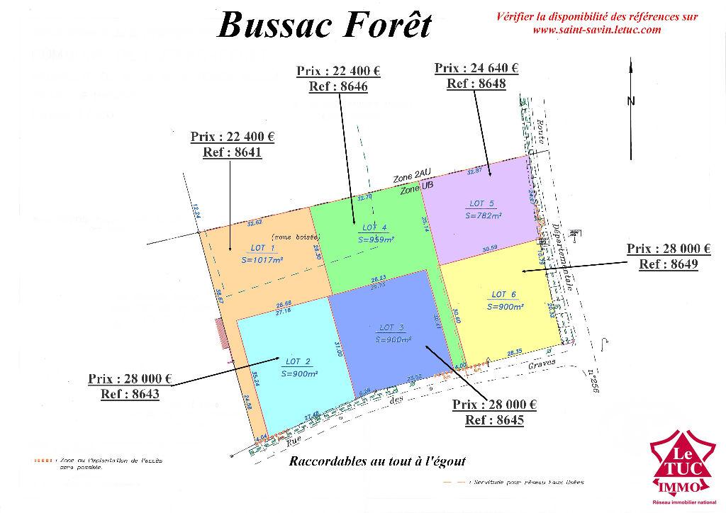 BUSSAC FORET TERRAIN ENVIRON 900 M²