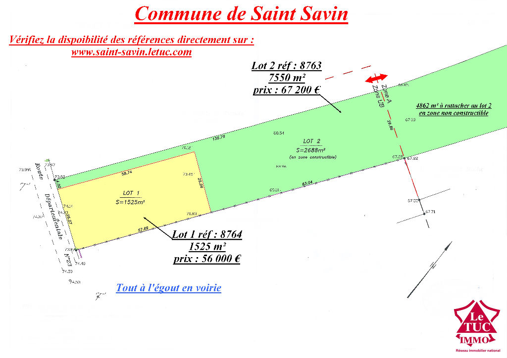 SAINT-SAVIN TERRAIN 1 525 M²