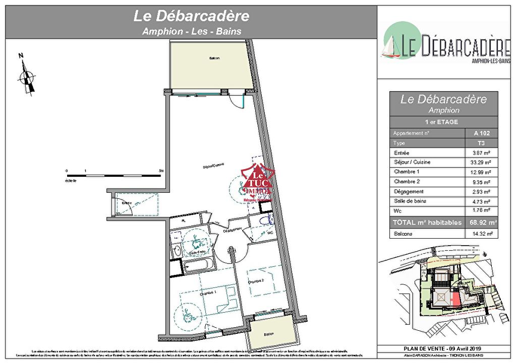 Publier, Le Débarcadère, Appartement de standing T3 A102, 69,57m2