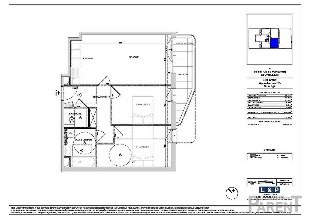 Appartement Chatillon 3 pièce(s) 61 m2