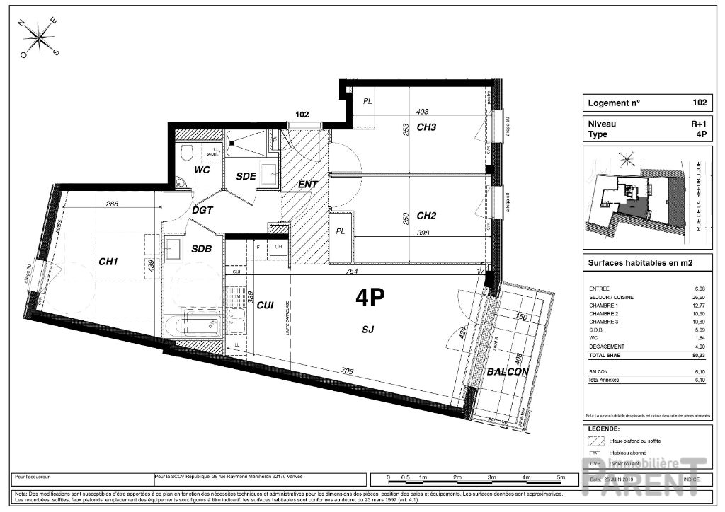 Appartement Vanves 4 pièce(s) 80.33 m2