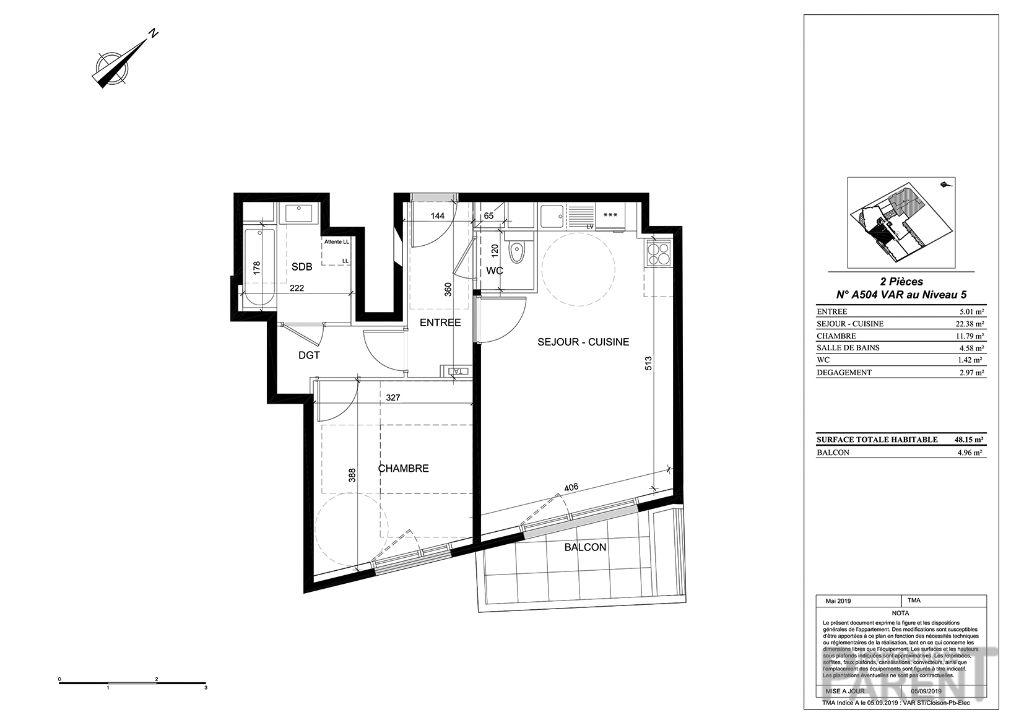 Appartement Issy Les Moulineaux 2 pièce(s) 48,15 m2
