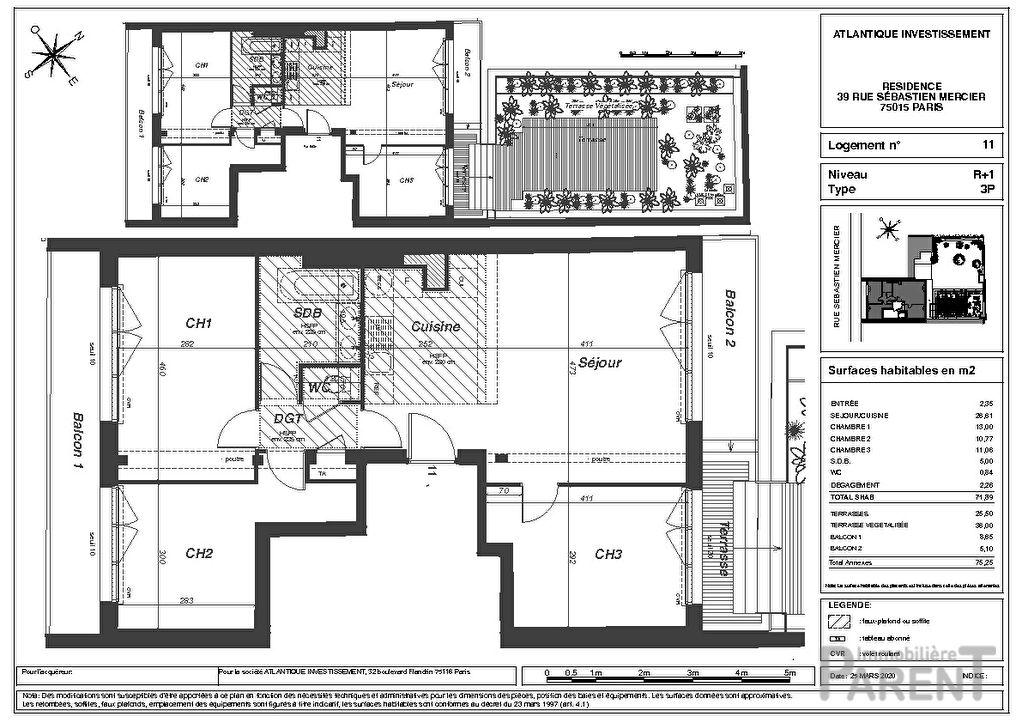 Appartement Paris 3 pièce(s) 88,44 m2