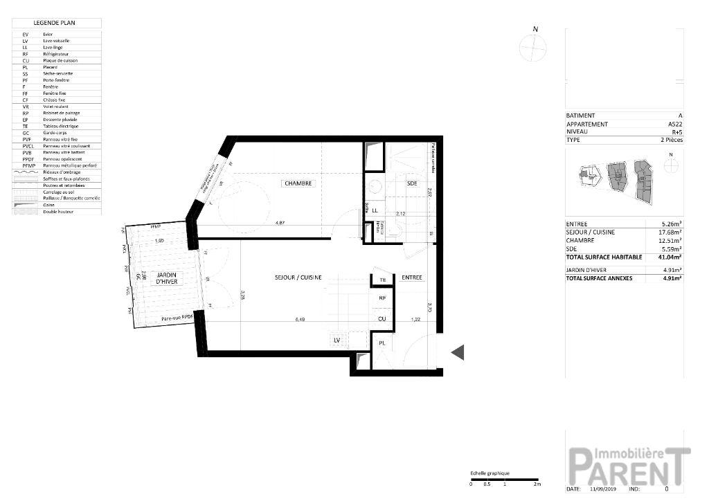 Appartement 2 pièce(s) 41,04 m²