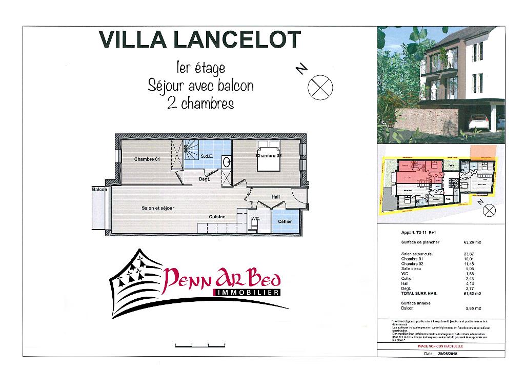 Saint Renan  Appartement 3 pièce(s) 63,26 m2